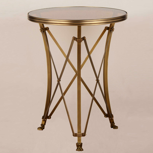 European style copper and glass coffee table, new design popular small round table(China (Mainland))