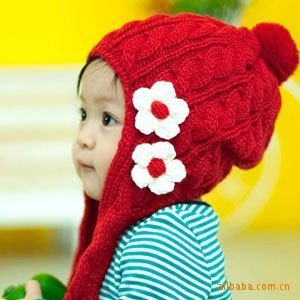 2015 new fashion autumn earflap baby Cotton cap warm winter knitted scarf hat beanie cap / lovely flowers mz656(China (Mainland))