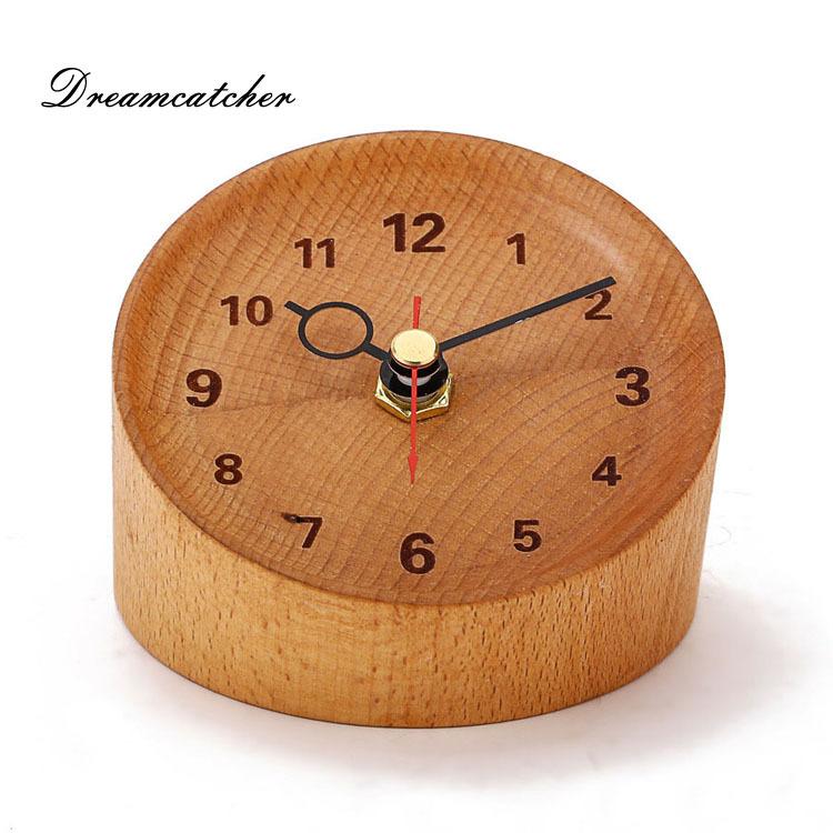 New Design Mini Alarm Clock Rubber Wood Timber Desk Clock