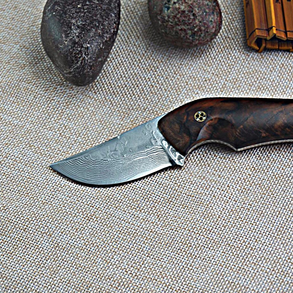 Buy Upscale Damascus Knife Tactical Survival knives Full Tang Fixed Blade Hunting Knife Outdoors Camping EDC Rescue Tools cheap