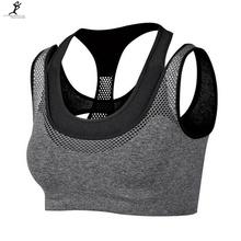 Professionelle Sport Mesh Frauen gefälschte zweiteilige Hot Sexy Push-up Sport-BH Yoga Fitness Weste BH Training Lauf Tank top BH(China (Mainland))