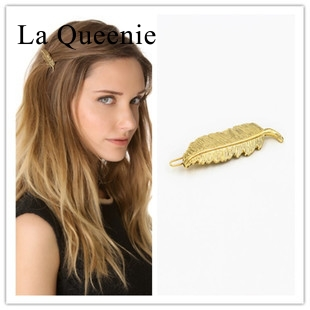 Hairpin Gold chunky wedding accessories tocados de novia hair pins Hairwear leaf barrettes vestido thick hair jewelry(China (Mainland))