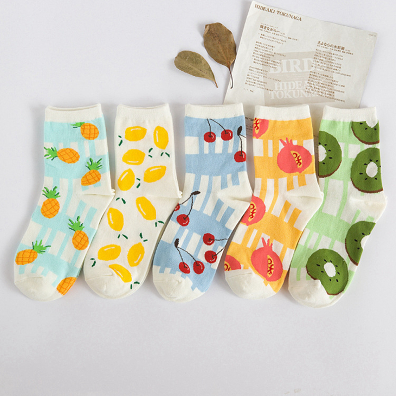 1Pair/lot 'Lovely Candy Fruit 'Women Girls Winter Autumn Warm Cotton Socks Lemon Print Fashion Comfortable Calcetines Meias A078(China (Mainland))