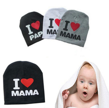 Lovely Warm I LOVE MAMA/PAPA Knitted Cotton Beanie Cap for Baby Boy and Girls(China (Mainland))