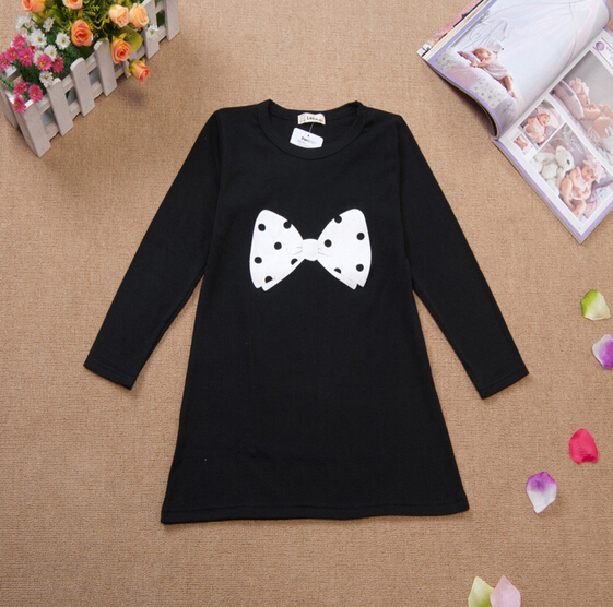 Free shipping,100% Cotton,Girls Black bottoming High quality, Black Bow girls long sleeve T-shirt, 3~8 years KTX18A03(China (Mainland))