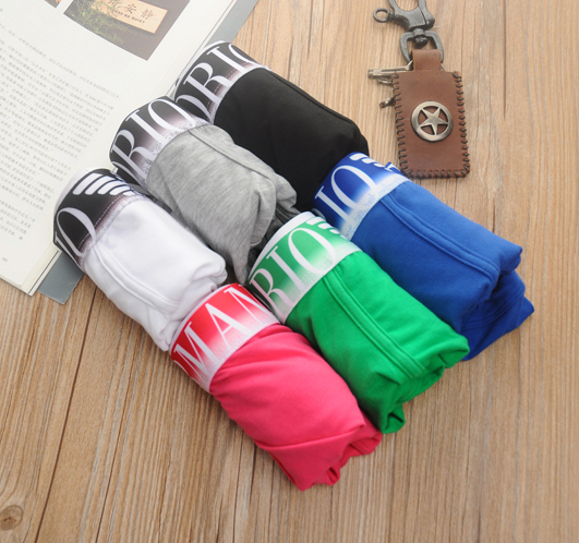 Fashion High quality brand new Men's underwear sexy Cotton Boxers shorts 6 colors wholesale 5pcs/lot(China (Mainland))