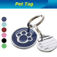 Factory direct supply ! Dog Paw Style Dog Name Dog Tag Pets   (Assorted Colors) Identity card For Pets Free Shipping