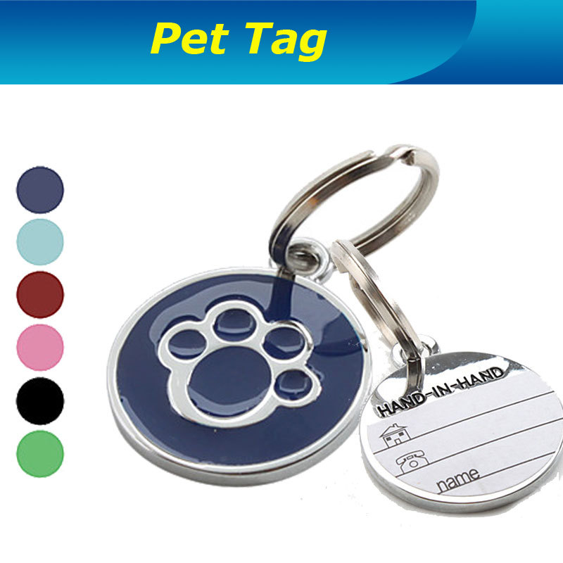 Factory Direct Supply ! Dog Paw Style Dog Name Dog Necklace Tag Pets Identity Card For Pets Fashion Key Chain Free Shipping(China (Mainland))