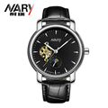 Fashion Business Men Leather Clock Mechanical Watch Brand Design Classic Mechanical Self Wind Wrist Dress Skeleton