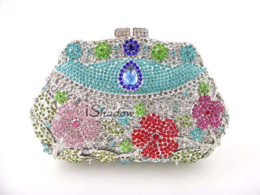 8258D Crystal Floral flower Wedding Bridal Party Night hollow Metal Evening purse clutch bag handbag case box<br><br>Aliexpress