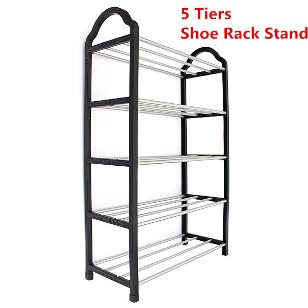 Home Excellent Quality Luxury Aluminum 5 Tier Shoe Tower Rack Stand Space Saving Organiser Storage Unit Shelves Black(China (Mainland))