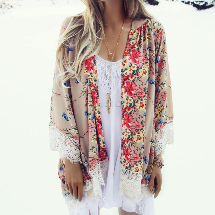 Summer Blouses Floral Pattern Printed Lace Kimono Cardigan 2016 Fashion Women Blouse Shirt Batwing Sleeve Blusas Femininas(China (Mainland))