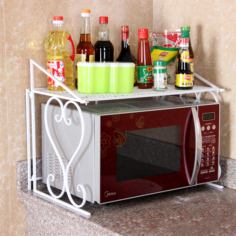 ECDAILY  Arts memorable Iron Kitchen Shelf Pastoral floor-to-multi-flavored microwave oven rack rack-pod  FREE SHIPPING<br><br>Aliexpress