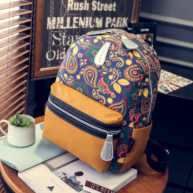 Famous designer fashion backpack Abstract printing vintage leisure and travel bag Rural style canvas gym bag cute women bag(China (Mainland))
