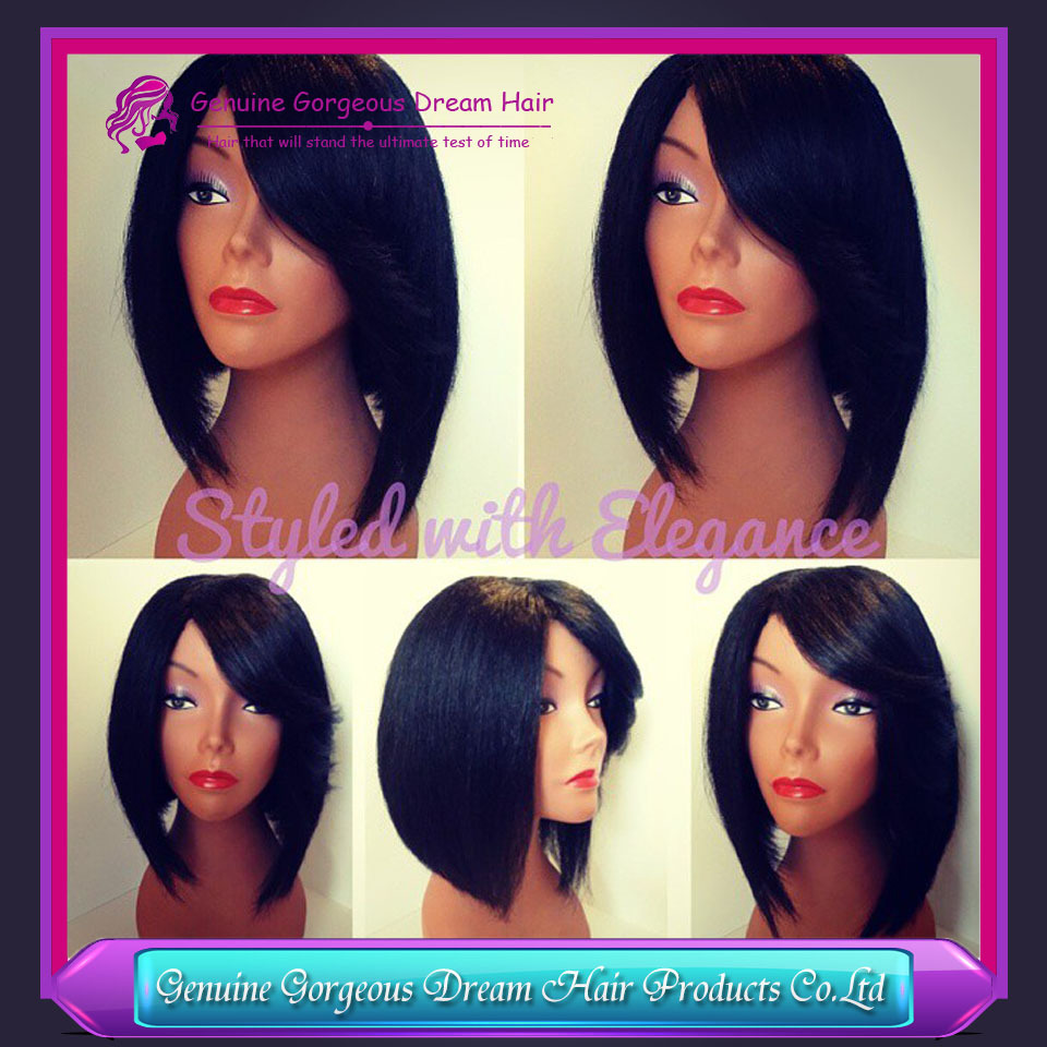 8'' 10'' 12'' fast delivey 1b color human hair bob wigs lace front wigs silk top glueless full lace wigs with side parts(China (Mainland))