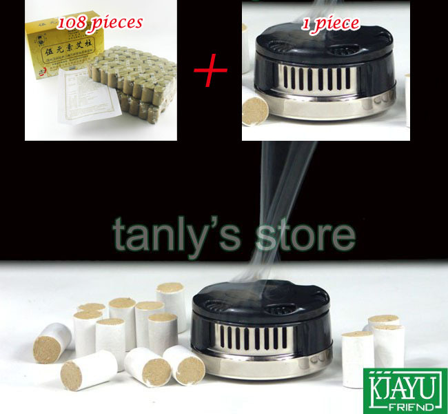Wholesale and Retail (1pcs Stainless steel Moxa box) + (108pcs 3 Years Old 5 Yuan Su Moxa Roll) health & beauty product(China (Mainland))