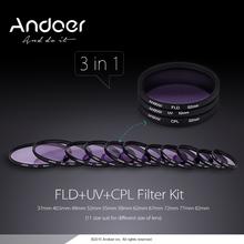 Andoer 37/40. 5/49/52/58/62/67/72/77/82 Mm UV + CPL + FLD Rund Filter Kit Fluorescent Polfilter für Nikon Canon Pentax Sony(China (Mainland))