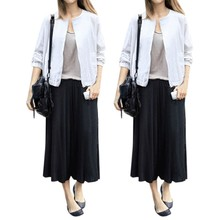 2016 Women High Elastic Waist Solid Calf-length Trousers Casual Loose Plus Size Overszied Summer Wide Leg Pants Elegant Culottes(China (Mainland))