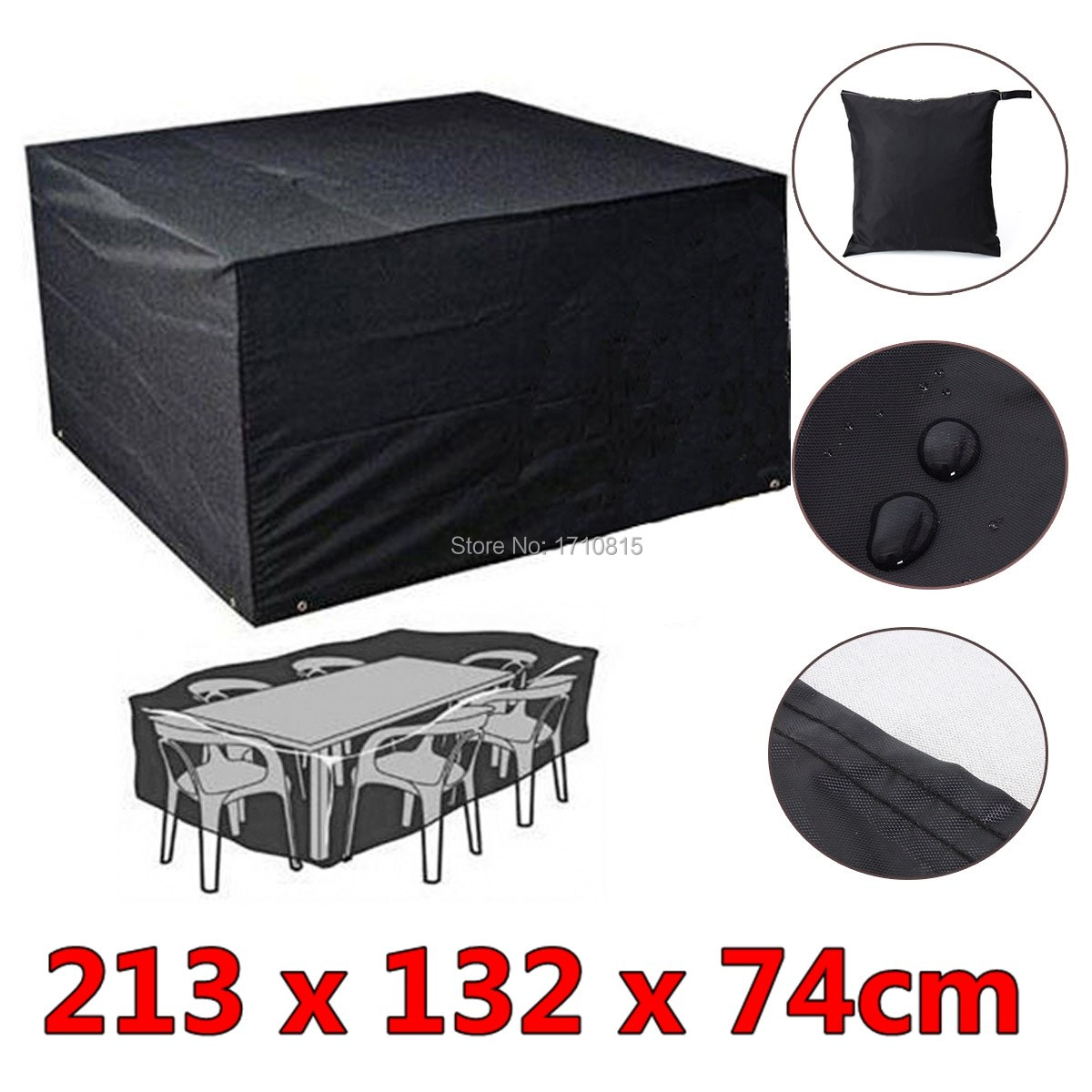6 Seaters Dust Waterproof Outdoor Garden Furniture Rain Cover Shelter Rattan For Cube Table Chair Black(China (Mainland))
