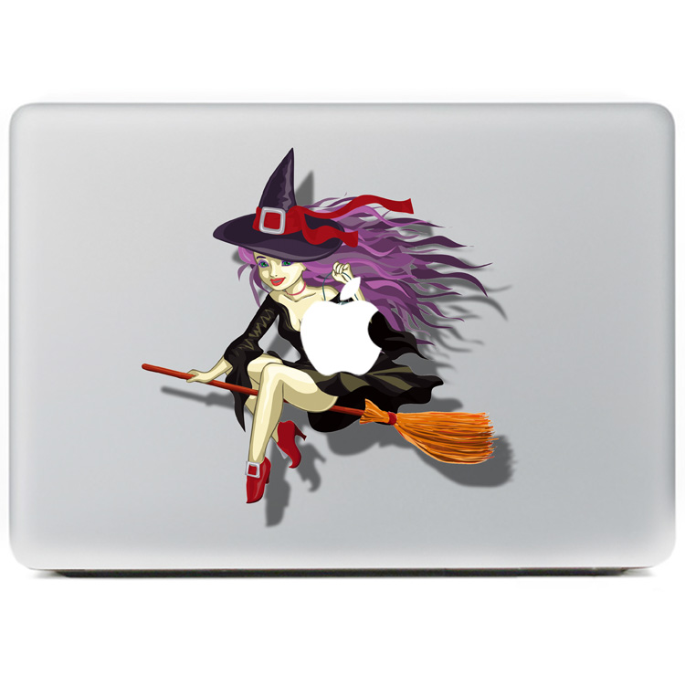 DallowayCabin New Colorful Laptop Protective Skin 3D Flying Witch Riding Broomstick Sticker Decal for Macbook 11 12 13 15 inch(China (Mainland))