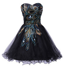 Grace Karin white/Black luxury Peacock Short robe Cocktail Dresses 2015 Tulle prom Party Dresses vestidos de coctel 4975(China (Mainland))
