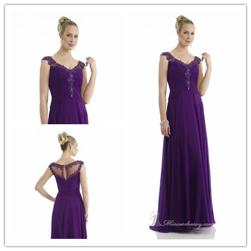 A-line Boat Neckline Sleeveless Floor Length Purple Chiffon Beaded Long Formal Evening Dresses/Evening Gown 2014