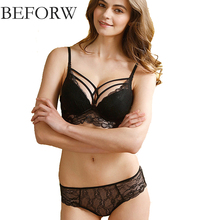 Buy BEFORW Sexy Lace Bra Set Deep V Underwire Push Bralette Brief Sets Sexy Lingerie Transparent Underwear Women Bra Panties Set for $8.38 in AliExpress store