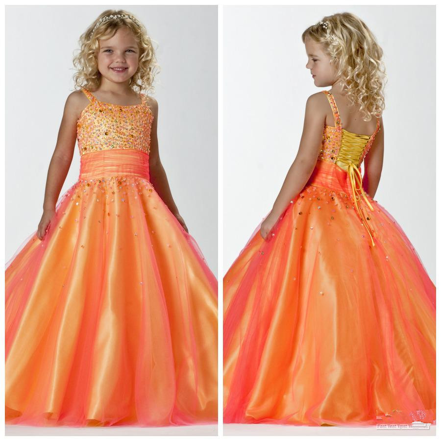 stunning spaghetti straps orangeyellow princess little girls pageant dress wedding party ball gowns flower