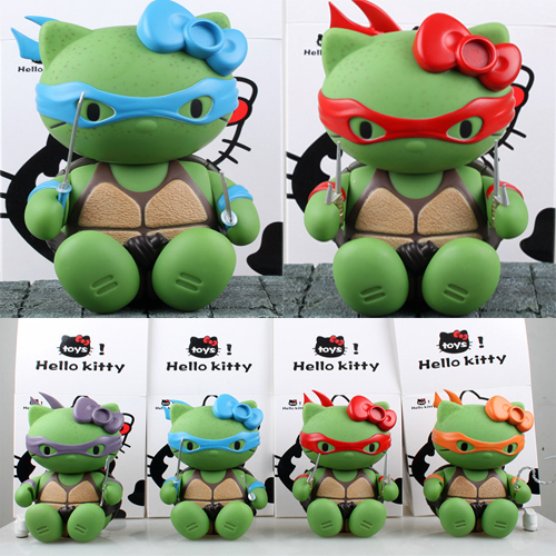 4pcs lot Ninja Turtles Hello Kitty 15cm Action font b Figure b font Toys toy