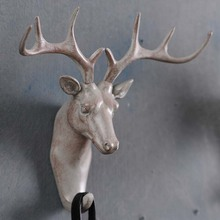 American deer animal decorative wall hooks creative perspective retro clothes coat hook key entrance point bar(China (Mainland))