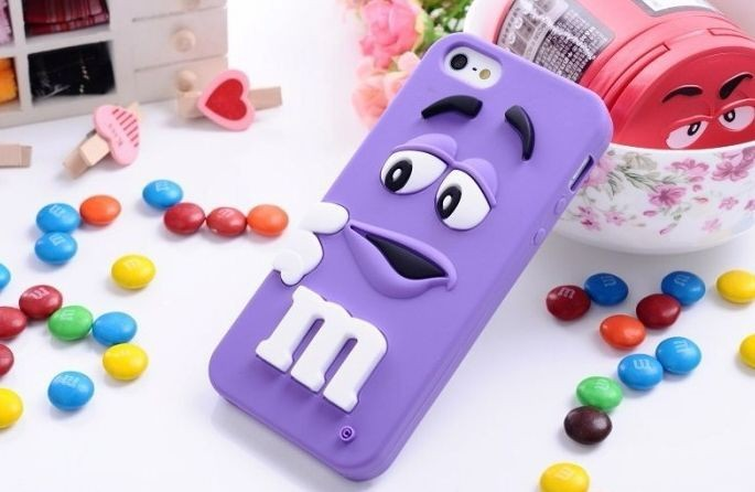 20pcs/lot Cute M&M Chocolate Candy Color Rainbow Bean Designer Silicone Soft Case for iPhone4 4S 5 5S Back Cover items 10 colors