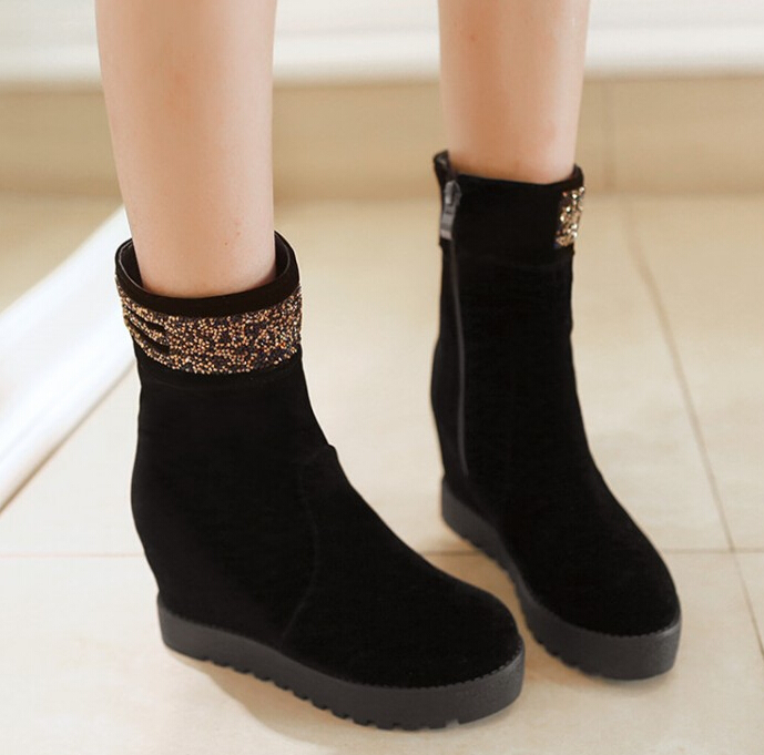 2014 new womens winter warm inside heel platform half boots female high heel ladies rhinestone mid calf snow boots qy x25-10<br><br>Aliexpress
