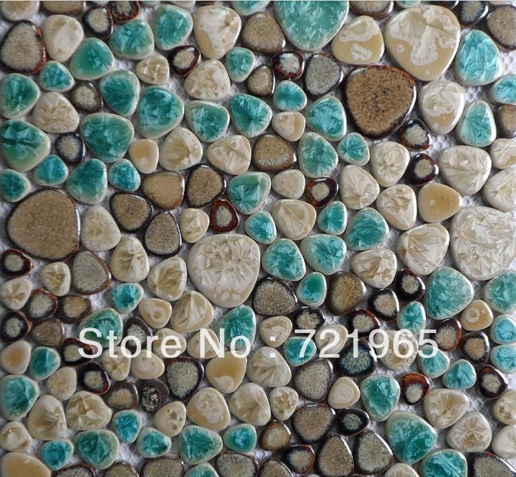 Tiles Stone Mosaic Floor Tile PPMT013 Porcelain Pebble Mosaic Tile