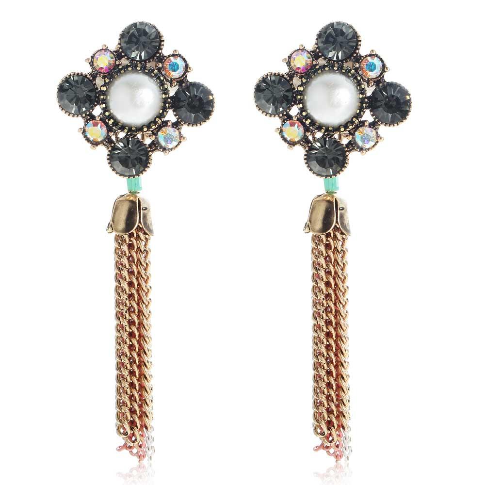 YaYi Black Glass Multicolor Rhinestone Pearl Beads Chain Dangle Earring Women's Fashion Ancient Gold Gem Earrings For Women E862(China (Mainland))