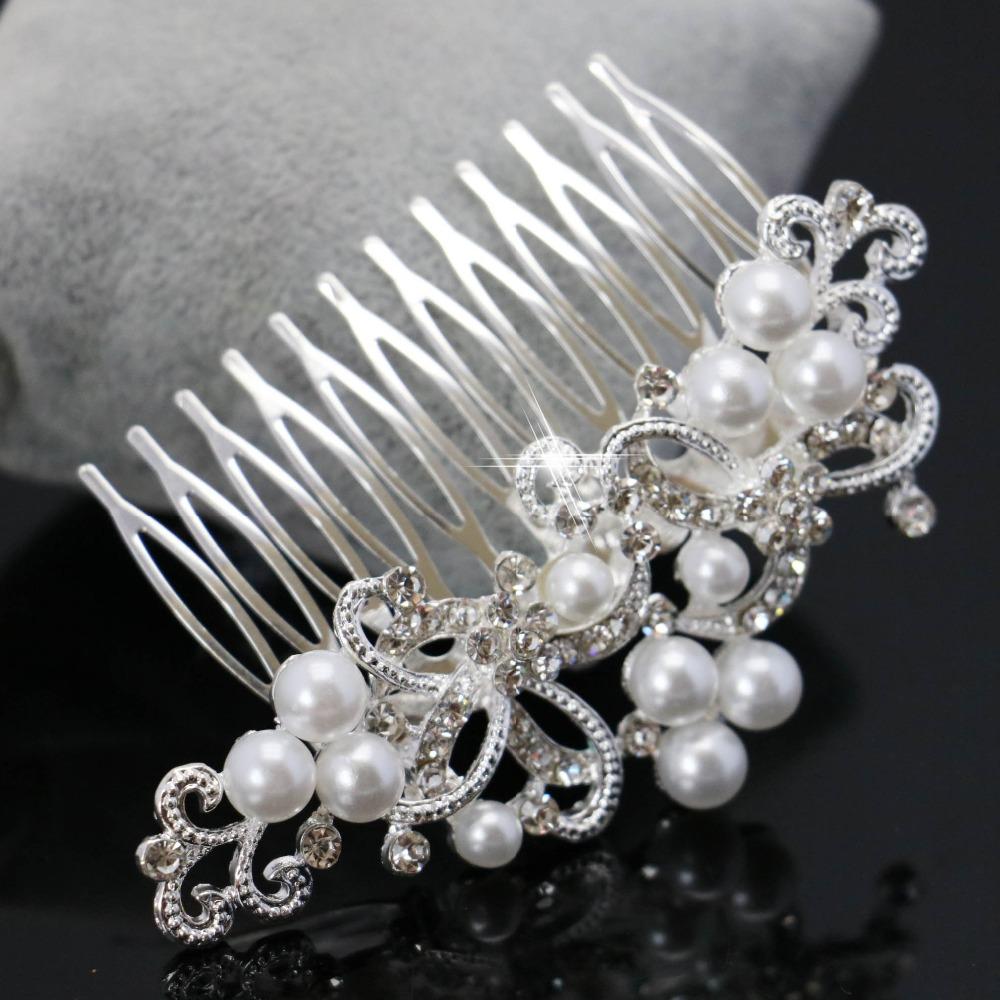 New Rhinestone inlay Bridal Crown Tiara Wedding Bride Hair Jewelry Comb Trendy Women Hairwear Elegant Imitation Pearl Wholesale(China (Mainland))