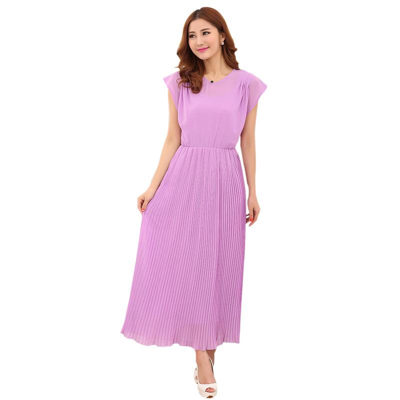 Fashion Women Summer Long Dresses Bohemian Pleated Cute ...