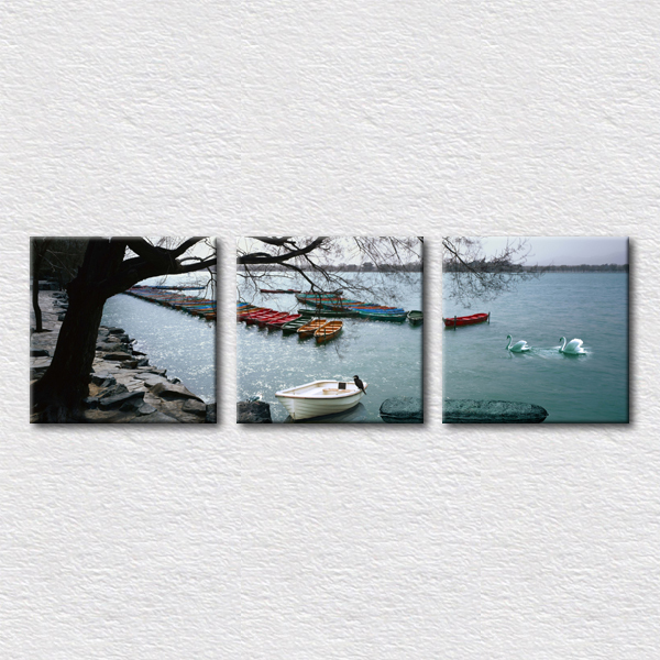 Natural scenery painting canvas prints 3 sets modern wall art for office room decoration unique gift for friends(China (Mainland))