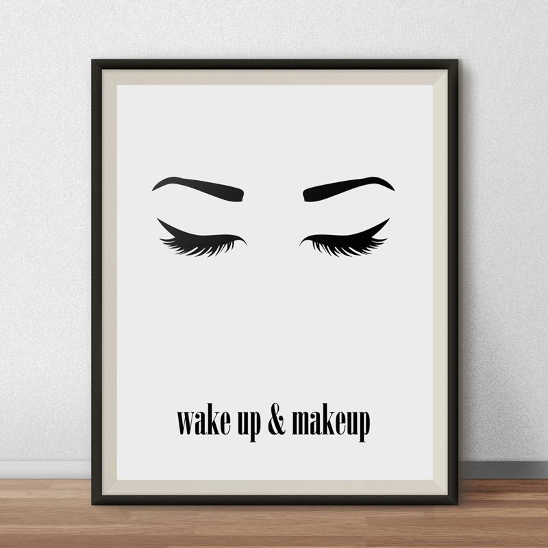 Wake up and makeup wall art printable beauty poster eyes for Minimalist room wall art