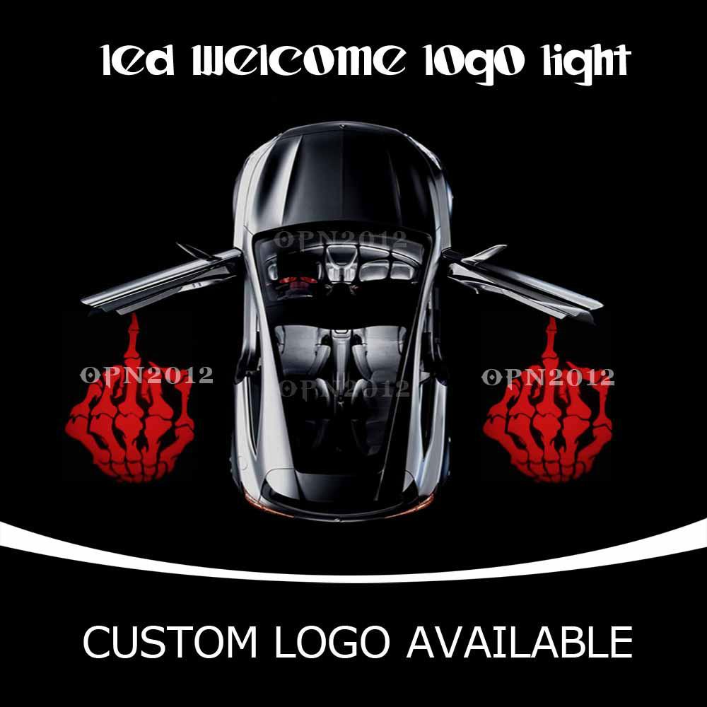 Car Door LED Projector Logo Laser Ghost Shadow LED Welcome Lights Badge Skeleton Middle Finger For CHEVROLET VW DODGE 2233 Red(China (Mainland))