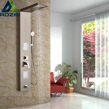Stainless Steel Bathroom Bath Rainfall Shower Column Panel Brass Massage Control System Single Handle with Jets & Hand Shower(China (Mainland))
