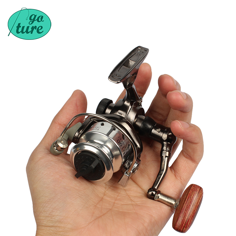 Goture palm size metal coil mini fishing reel ultra light for Open face fishing rod