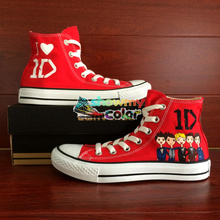 Red Women Men Converse Chuck Taylor 1D Shoes One Direction Design Hand Painted High Top Canvas Sneakers Wedding Christmas Gifts - WenArtWork Store store