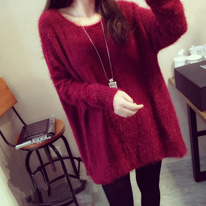 Faux Fur Sweater 2015 Women Winter Fuzzy Baggy Sweaters Long Sleeve Loose Knitted Kawaii Cute Mohair Red Oversized Pullovers New