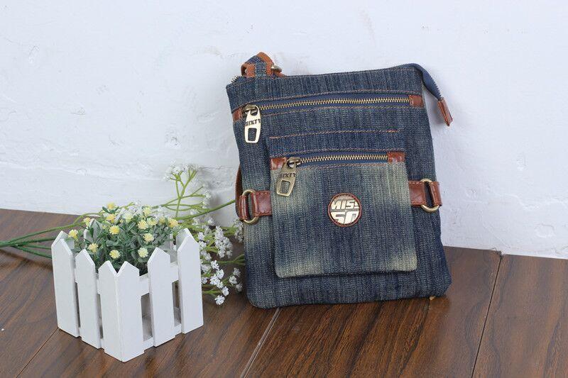 Retro Brief Trendy Design Casual Fashion Denim Women Messenger Bags Jeans Bag for Girls Portable Preppy Satchels Shoulder Bags(China (Mainland))