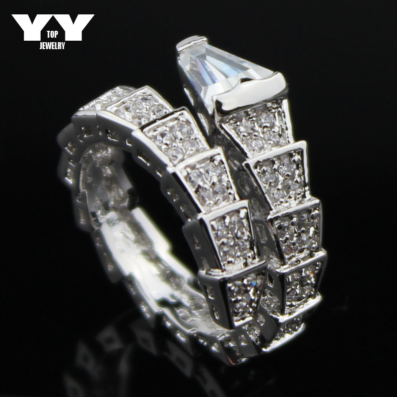 2016 Newest fashion plated real Platinum Austrian Crystal Rings for women luxury snake shape rings with AAA cubic zirconia(China (Mainland))