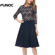 Buy Funoc Summer O Neck Lace Elegant Dress Three Quarter Sleeve High Waist Slim Dress Women Office Lady Dress Women's Clothing Femme for $17.82 in AliExpress store