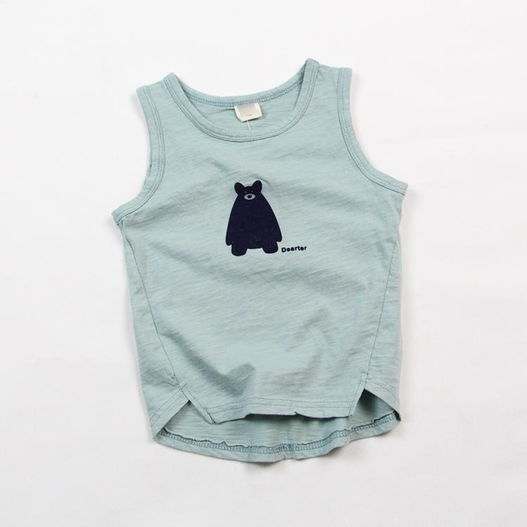 2016 new summer children baby cotton sleeveless vest simple cotton T-shirt children kids cute tops()
