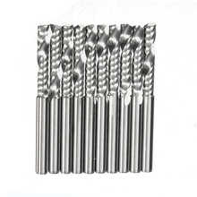 New 3.175 x 17mm (1Lx3.17) Good 10pcs 1/8 inch Cnc Bits Single Flute Spiral Router Carbide End Mill Cutter Tools(China (Mainland))