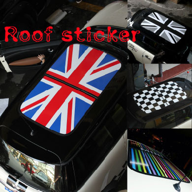 (Mark your car type pls)Mini cooper Car Roof Sticker sun funny roof Decal union jack accessories Mini R55 R56 R57 R58 R61 R60(China (Mainland))