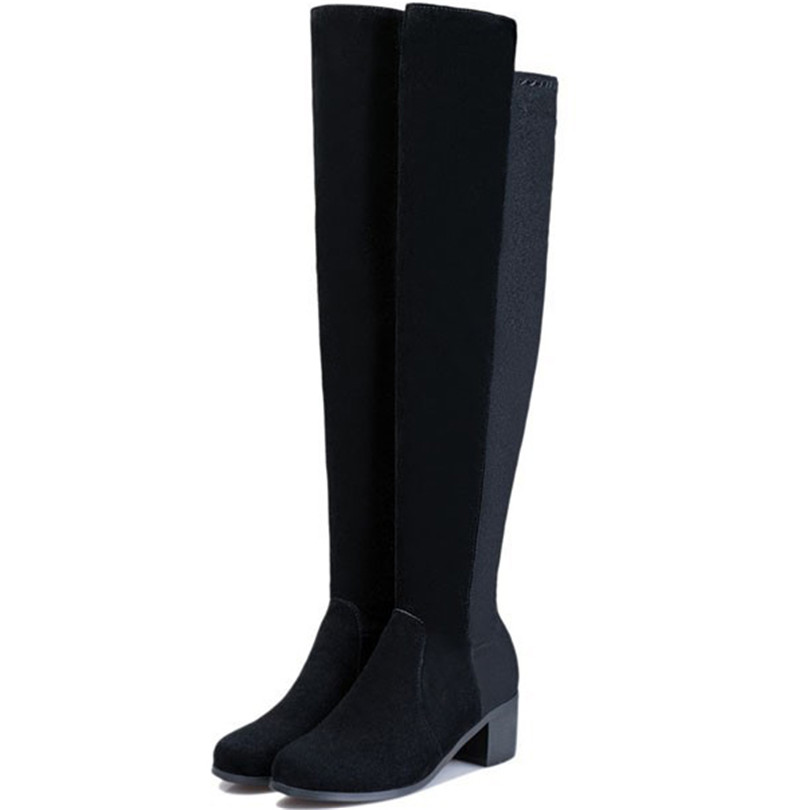 Здесь можно купить  ENMAYER free shipping leather boots warm winter over knee high boots round toe square heels black solid women